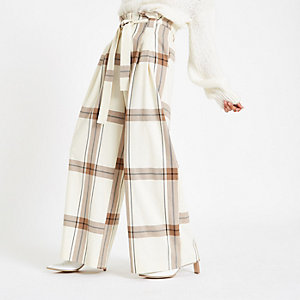 Cream check paperbag waist wide leg pants