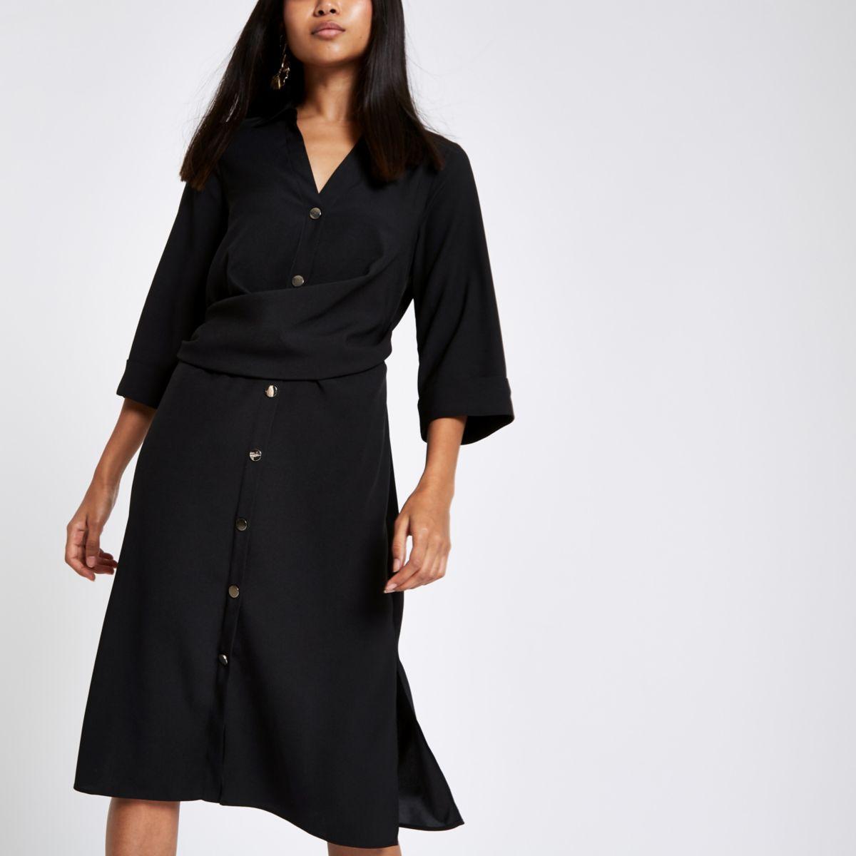 Petite black twist front shirt dress