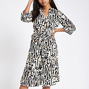 Petiet – Beiges Blusenkleid mit Leopardenprint