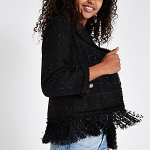 Black boucle fringe trim jacket
