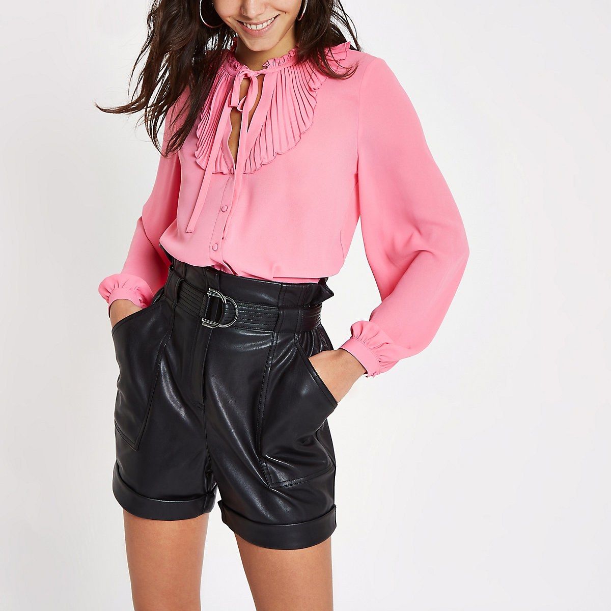 Bright pink frill blouse