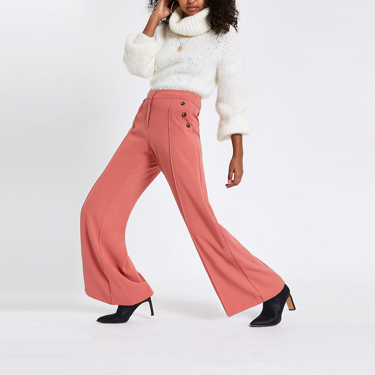 Pink button wide leg trousers