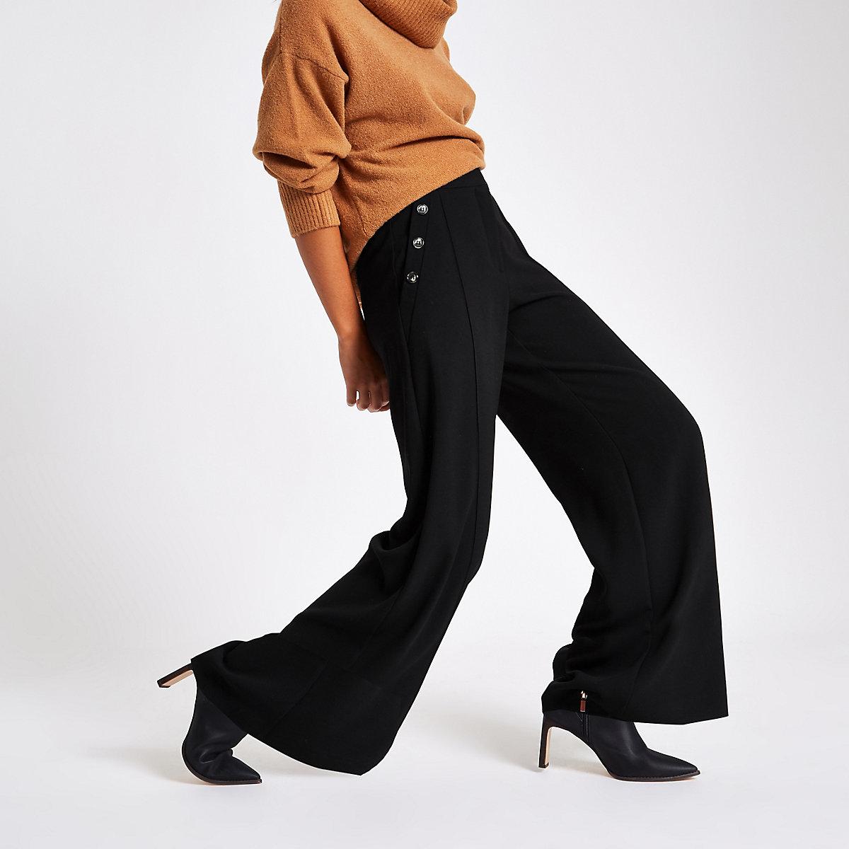 Black button wide leg pants