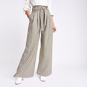 Khaki check wide leg belted pants