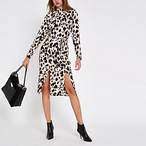 Beige midi-jurk met luipaardprint en strikceintuur