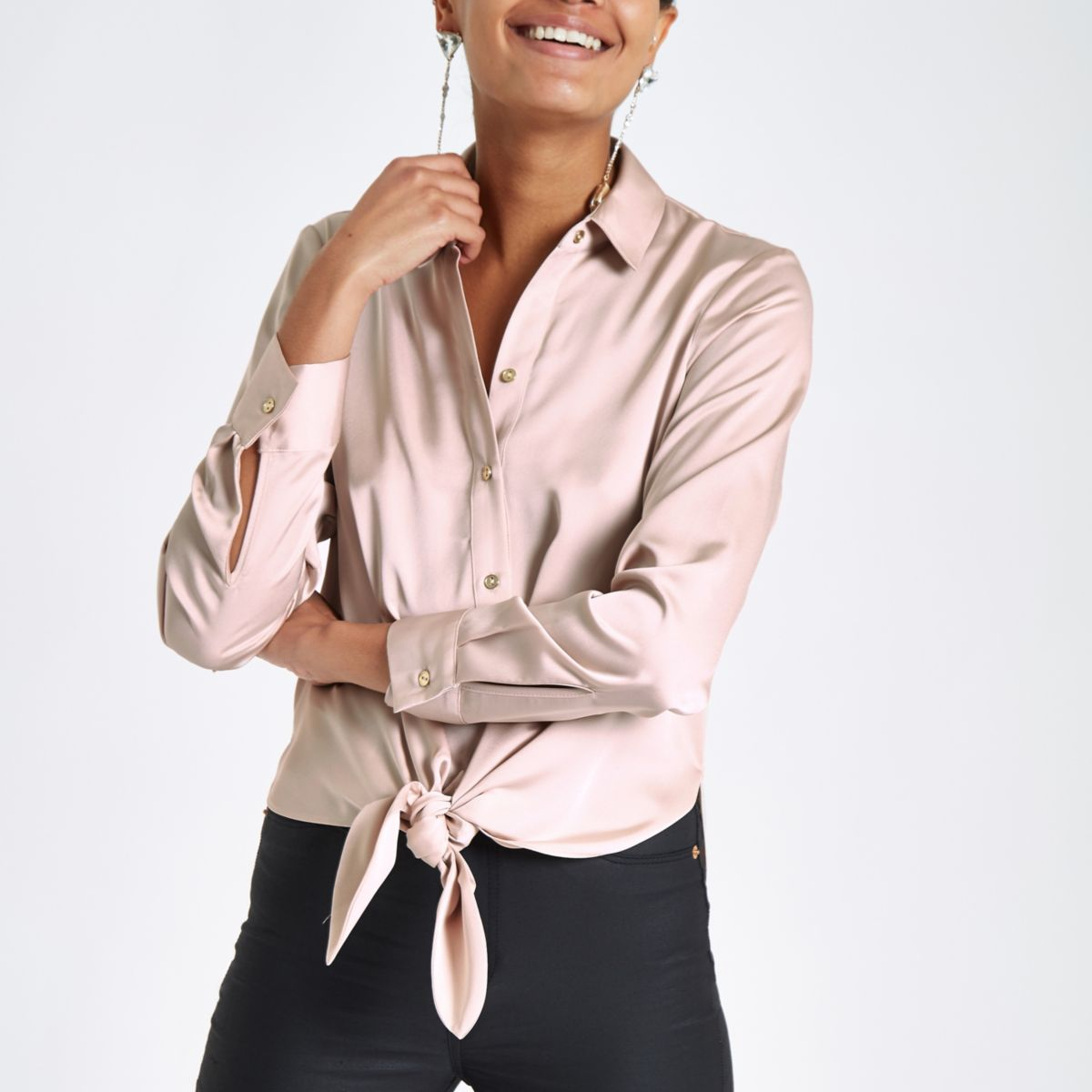 Nude tie front long sleeve shirt