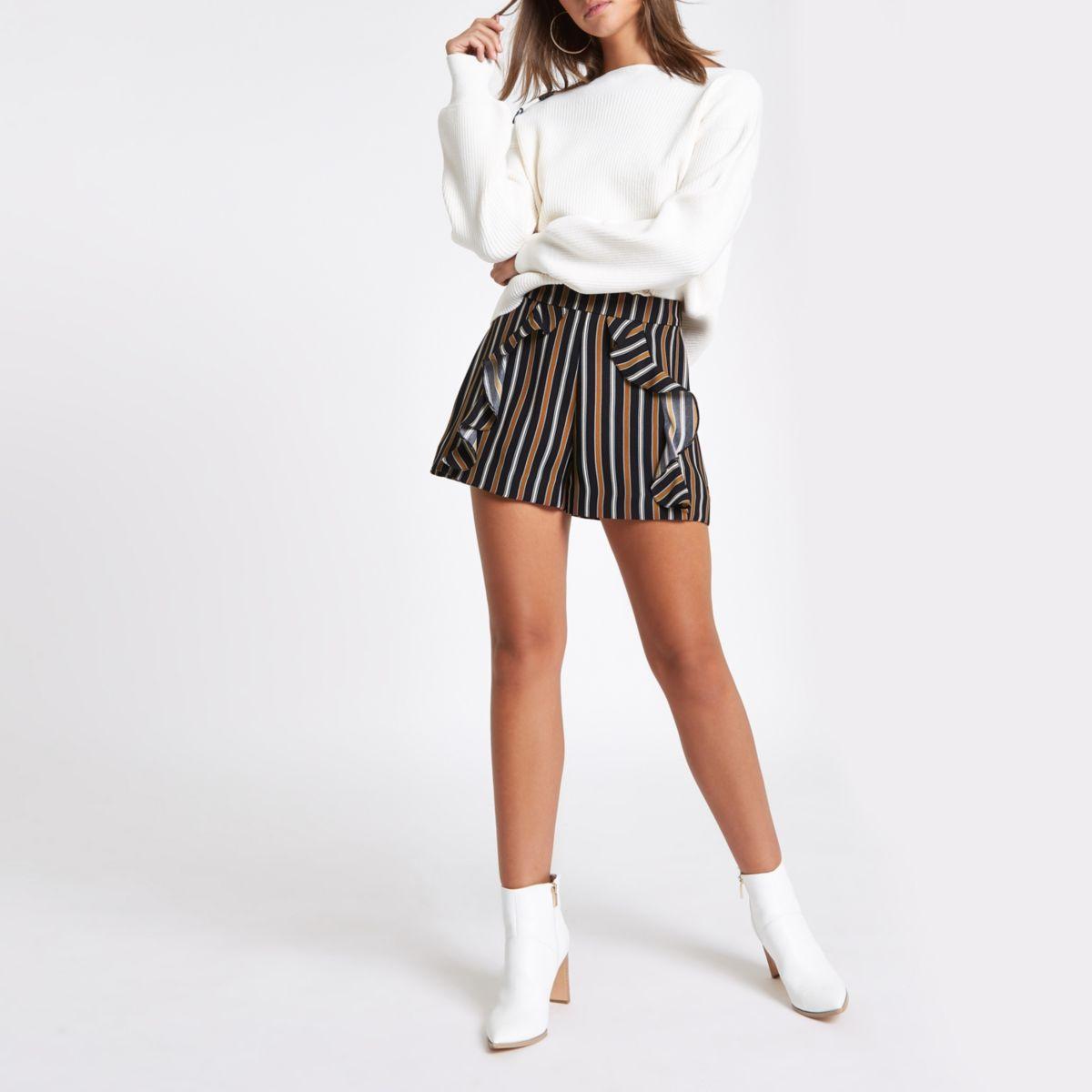 Navy stripe frill front shorts