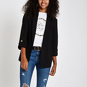 Black long sleeve open front blazer