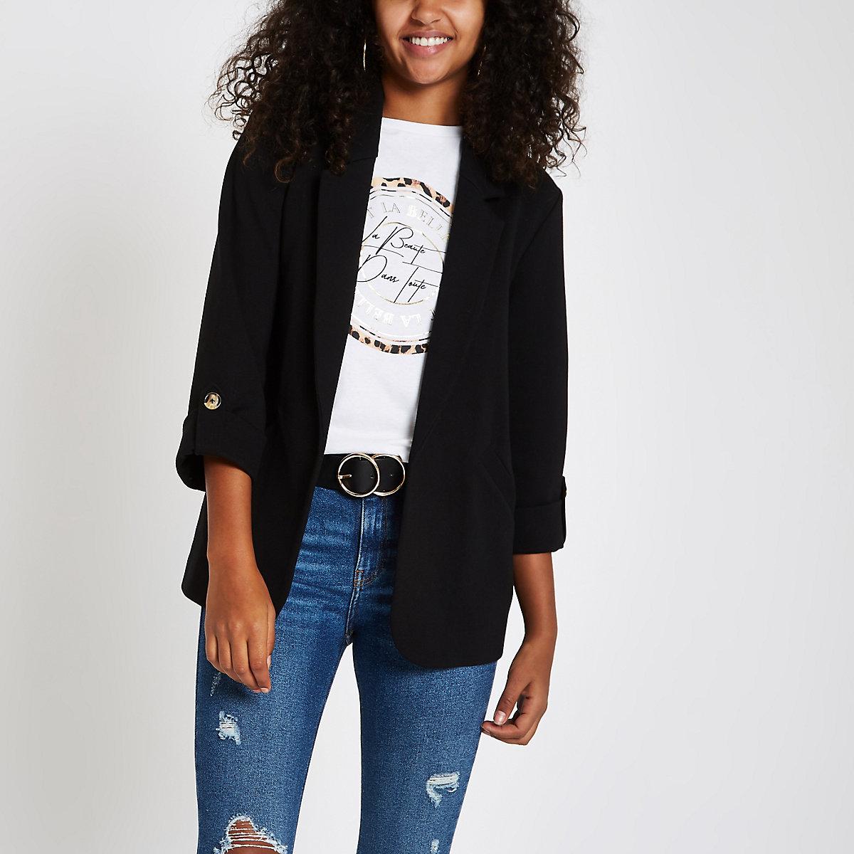 Black long sleeve open front blazer