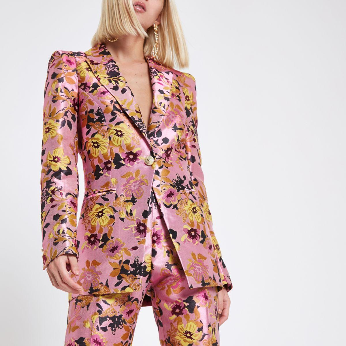 Daftar Harga Violet Floral Blazer Termurah 2018 Womenamp039s Retro 3 4 Sleeve Denim Slim Bubble T Shirt Dress Pink Jacquard Tux Jacket Blazers Coats Jackets Women