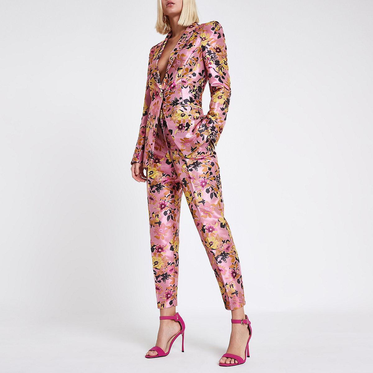 Pink floral jacquard tux jacket