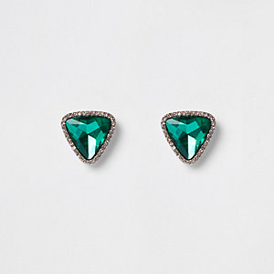Green triangle stud earrings