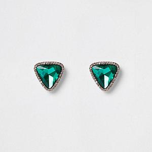 Clous d'oreilles verts forme triangle