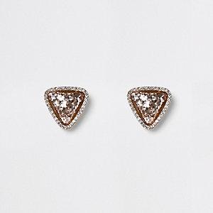 Dreieckige Ohrstecker in Gold und Pink
