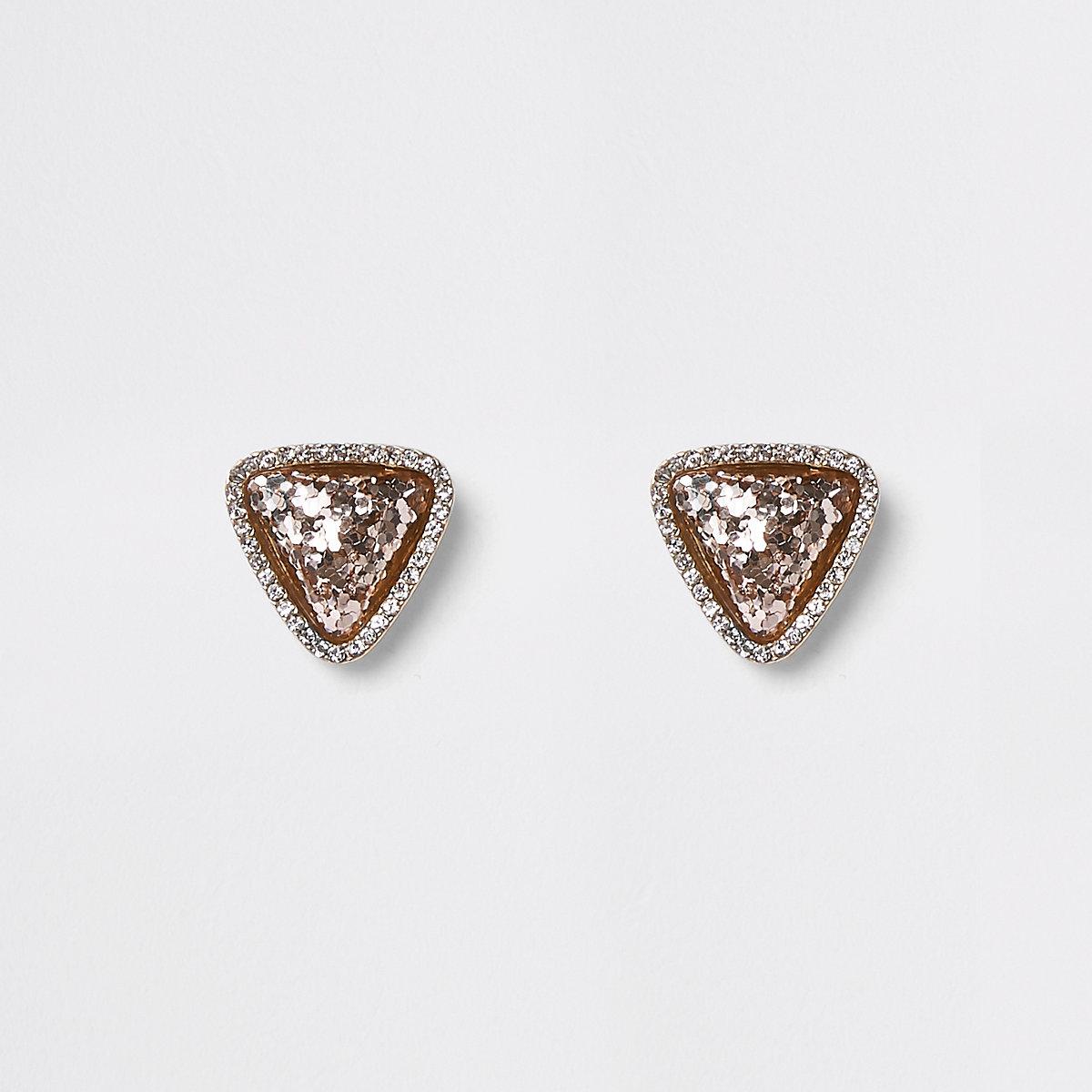 Gold tone pink glitter triangle stud earrings
