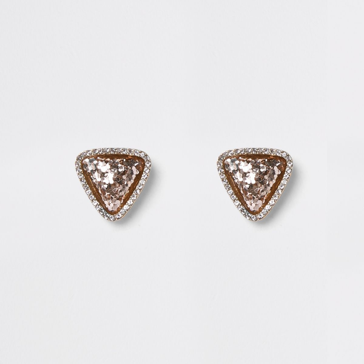 Gold tone pink glitter triangle stud earrings