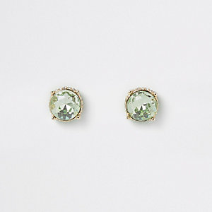 Gold tone green jewel stud earrings