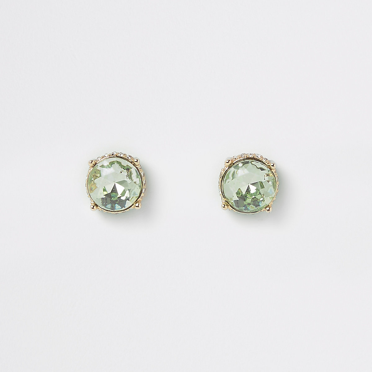 Gold tone green jewel stud earrings
