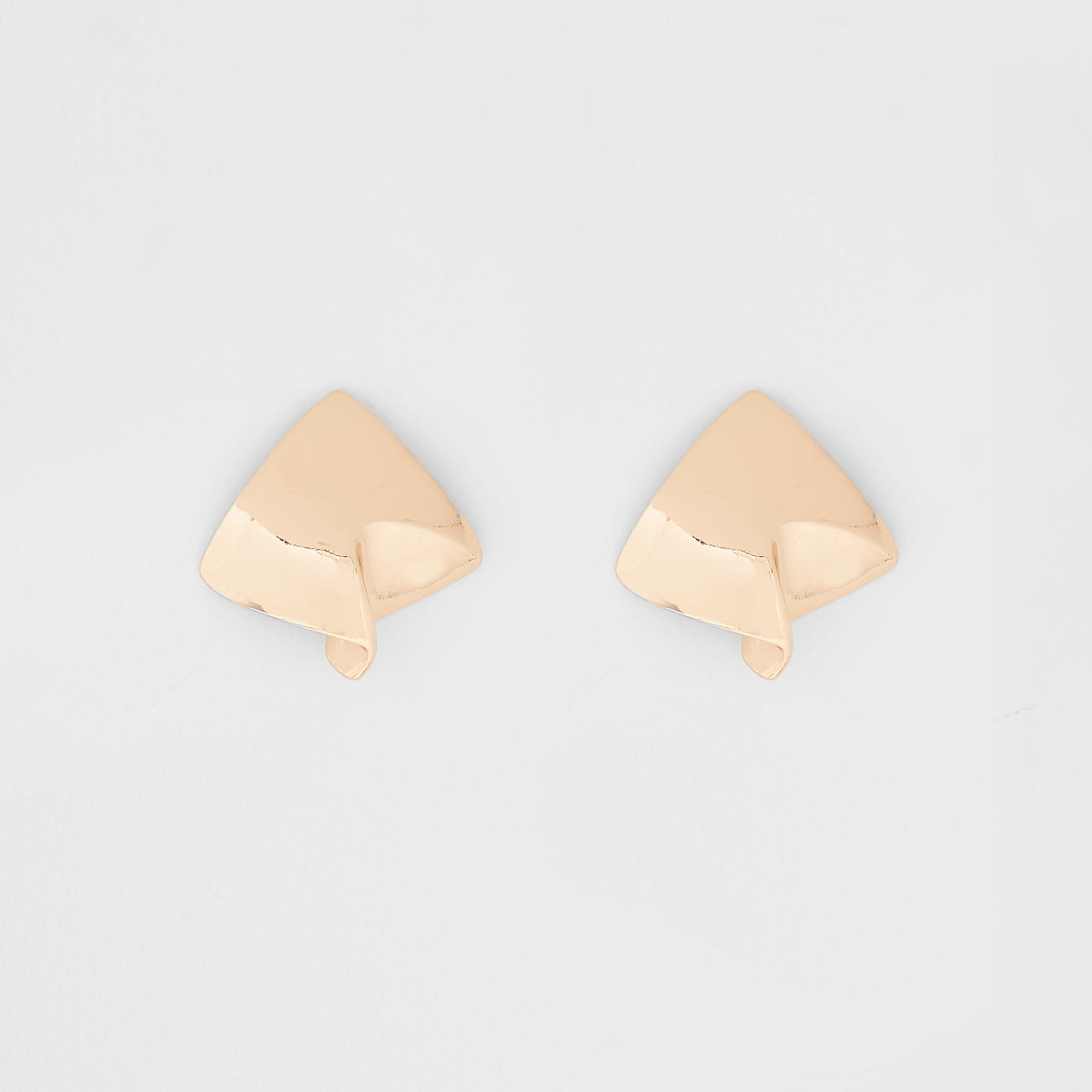 Gold tone square folded stud earrings