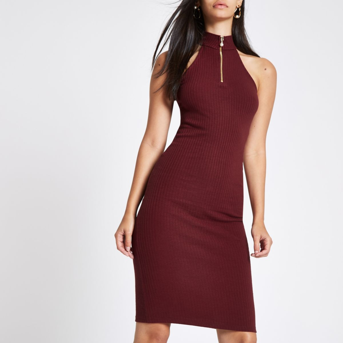 Dark red halter neck zip mini bodycon dress