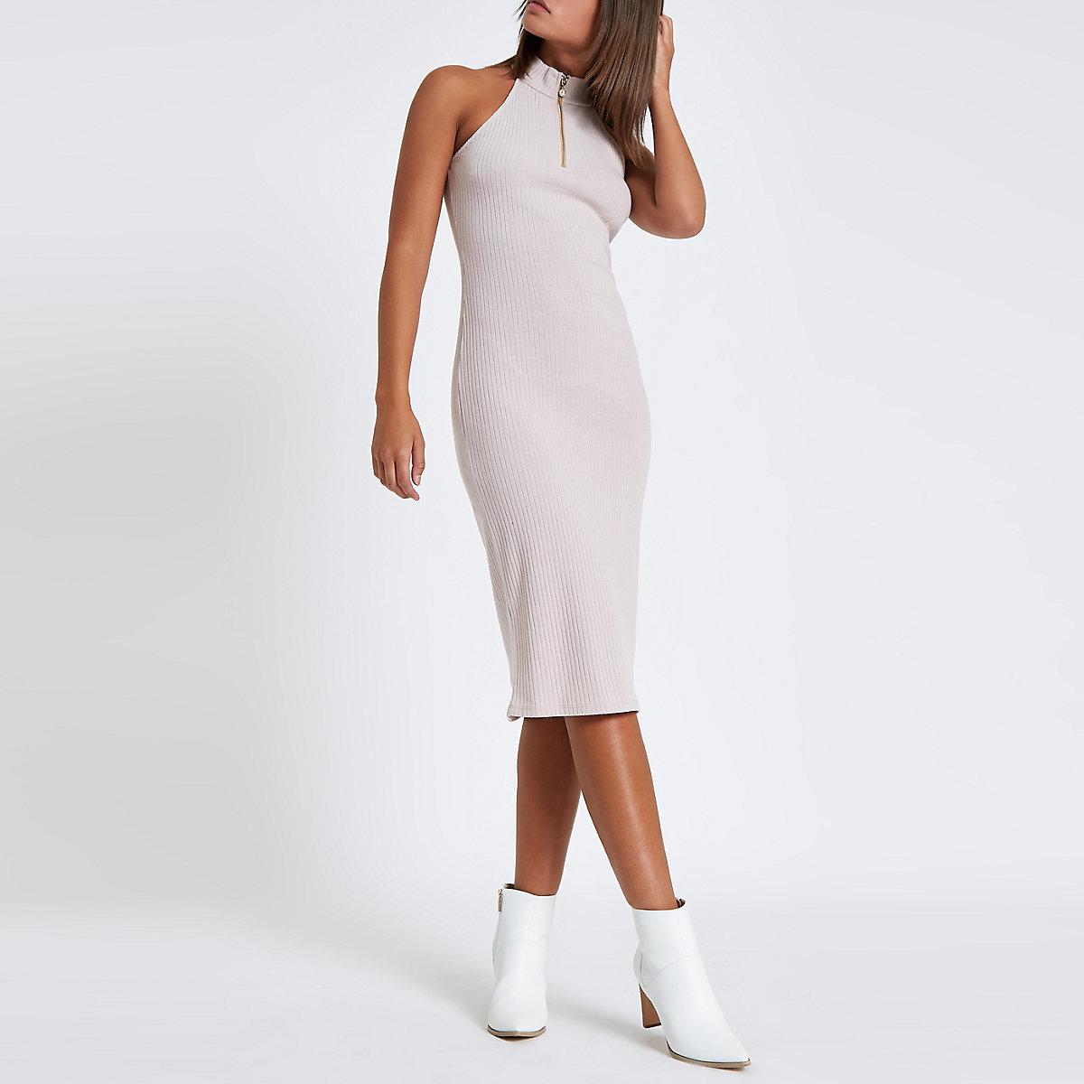 Beige halter neck zip mini bodycon dress