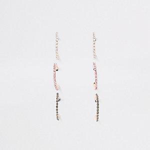 Gold rhinestone embellished hoop earrings pack