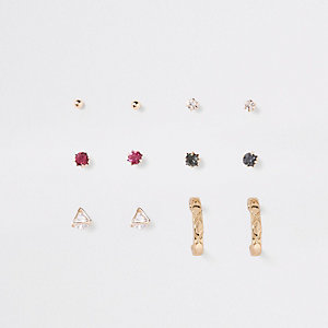 Diamante gold tone earring multipack