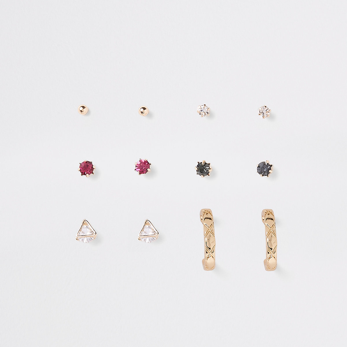 Rhinestone gold color earring multipack