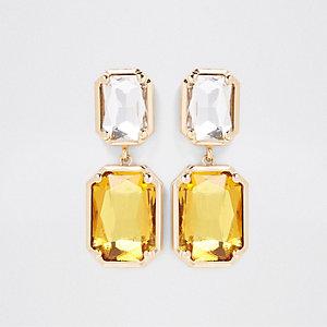 Goudkleurige kristallen oorbellen met amberkleurige hangers