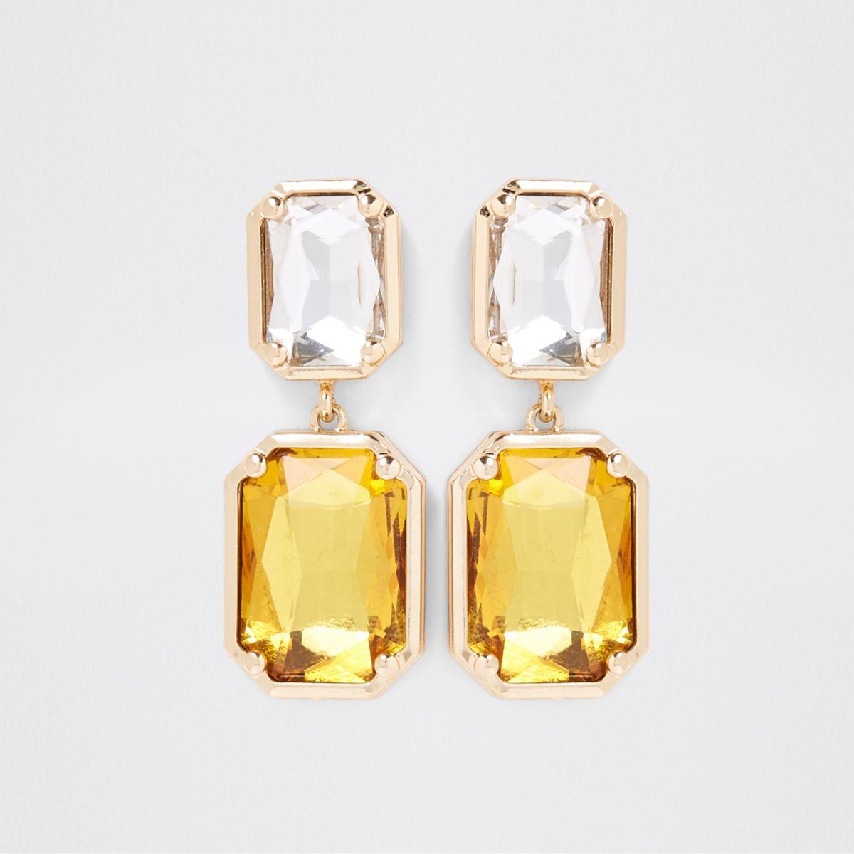 Gold tone amber crystal drop earrings