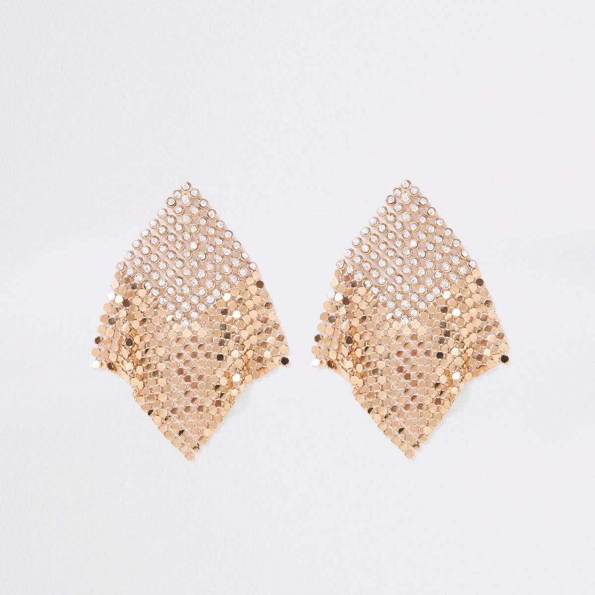 Gold tone bling and chainmail drop earrings