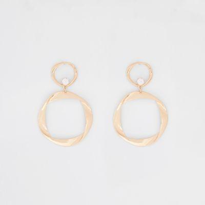 Gold Tone Folded Hoop Drop Earrings by River Island