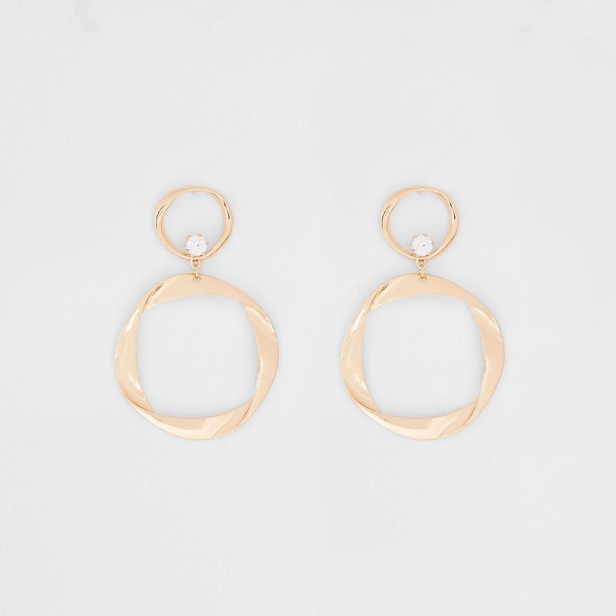 Gold tone folded hoop drop earrings