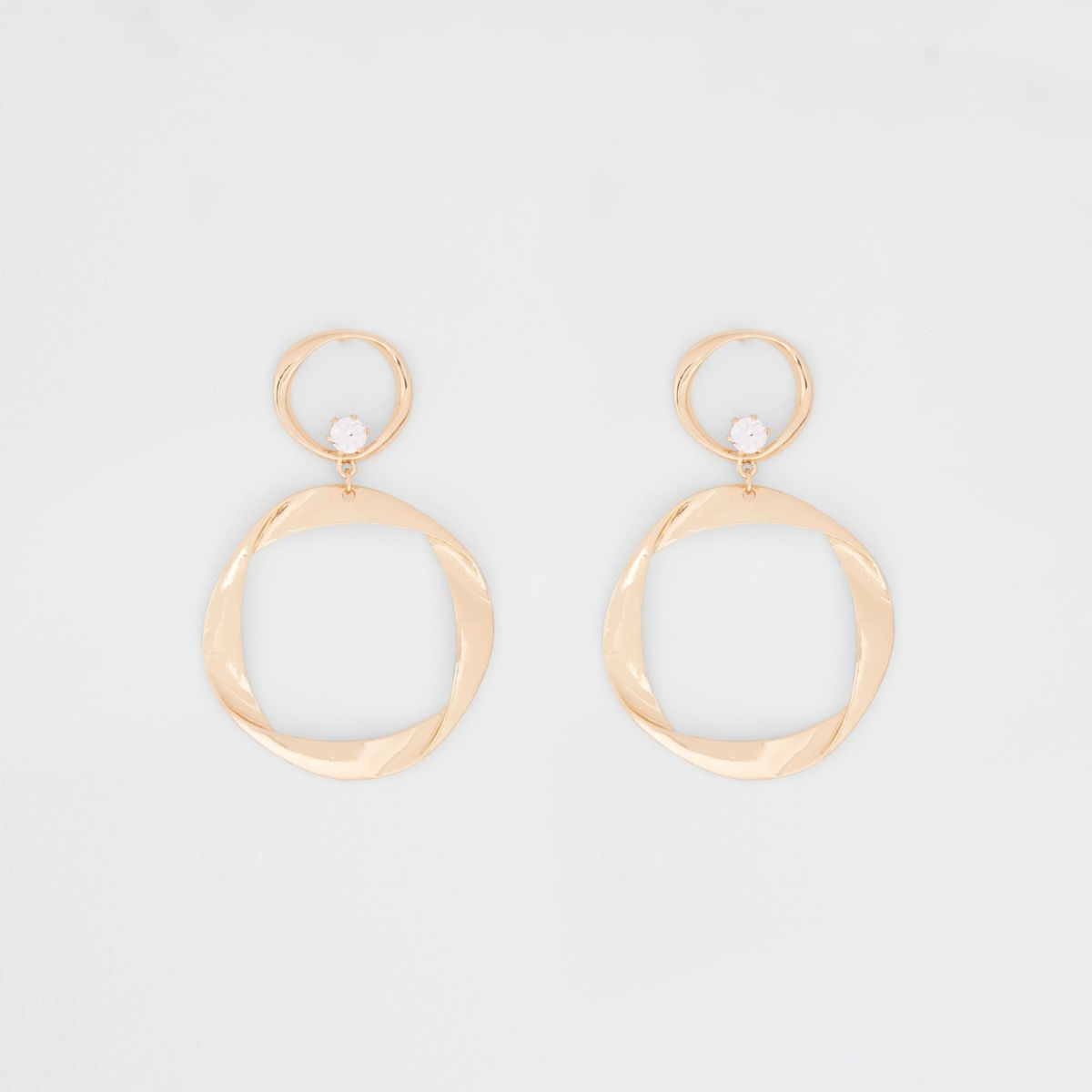 Gold tone folded hoop drop earrings