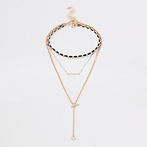 Gold tone black thread necklace pack