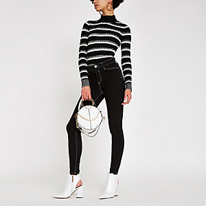 Black knit stripe roll neck jumper