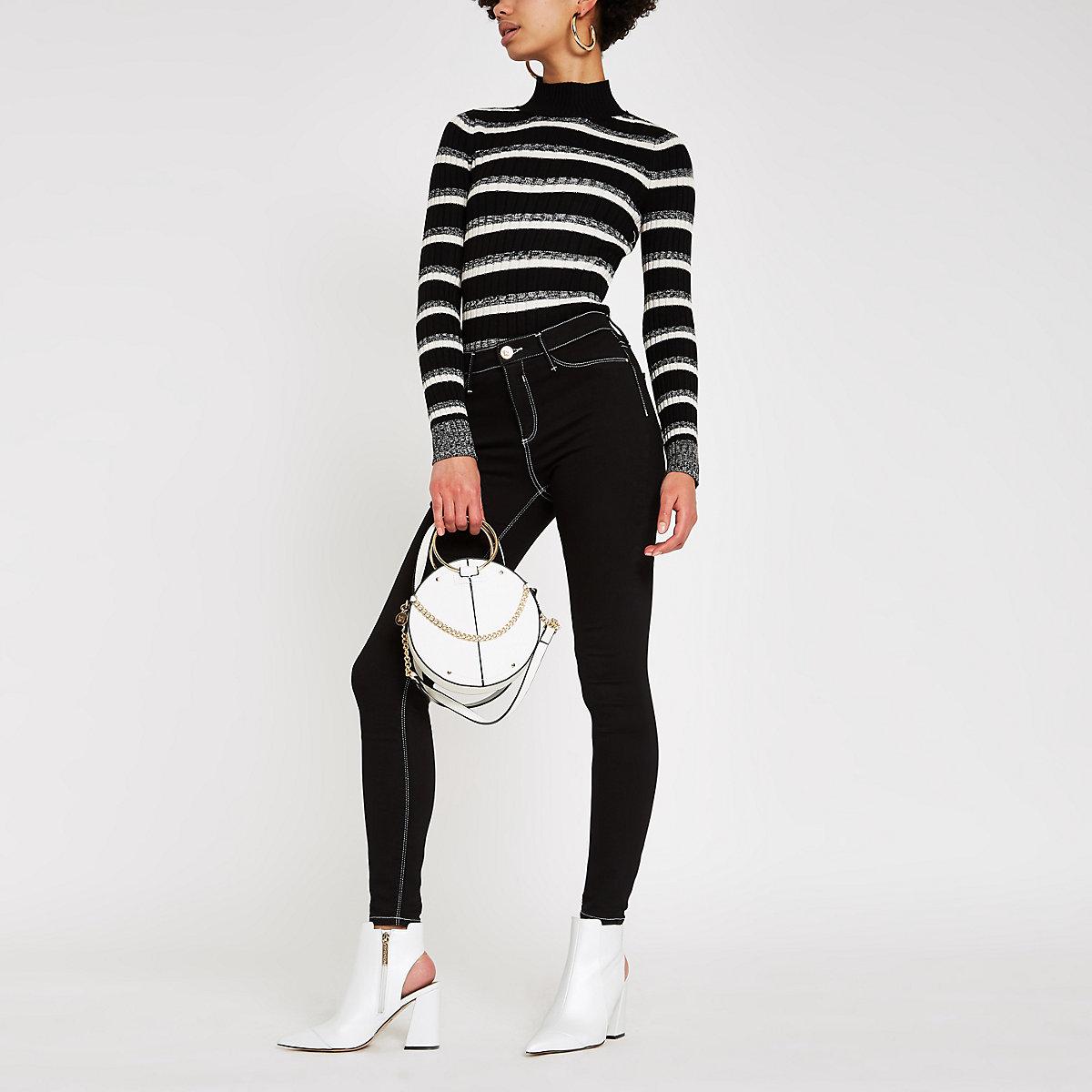 Black knit stripe roll neck sweater