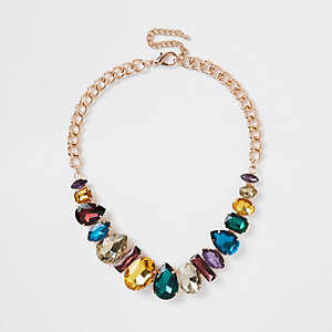 Gold tone multi jewel necklace