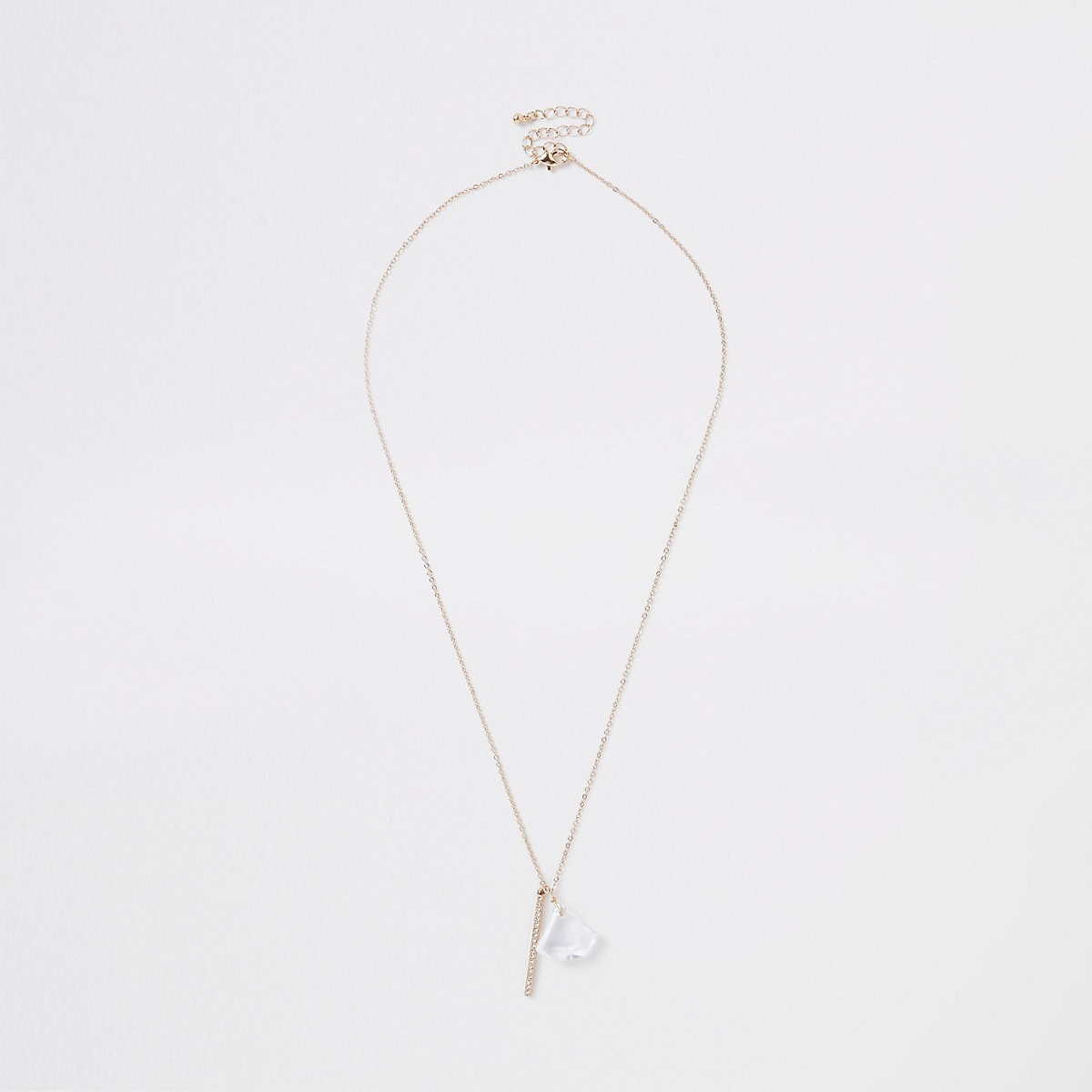 Gold colour jewel diamante paved necklace