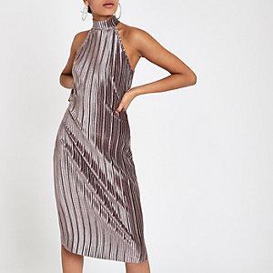 Bodycon-Neckholder-Kleid in Silber