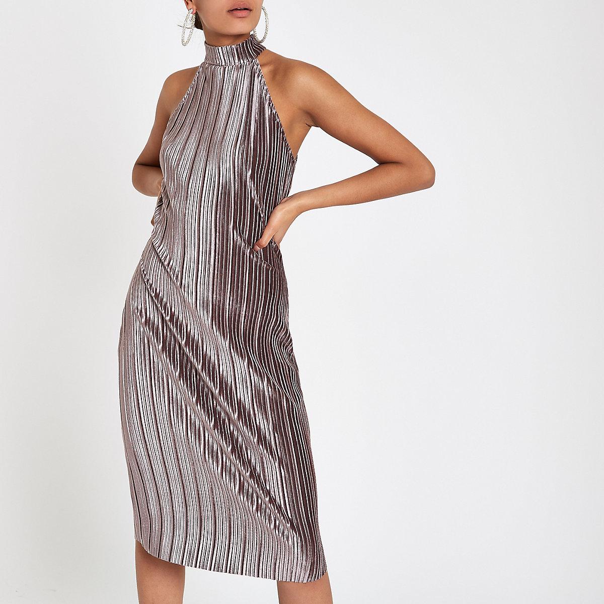 Silver plisse bodycon halter neck dress