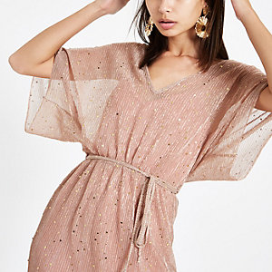 Roze metallic midi-jurk met kimonomouwen