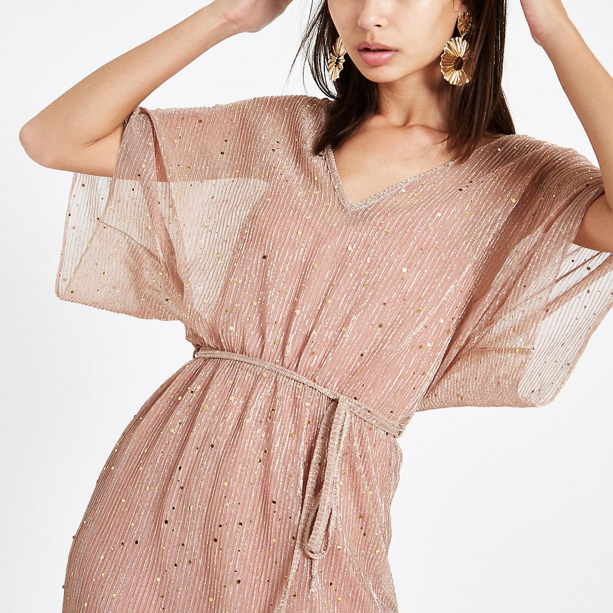Pink metallic kimono sleeve midi dress