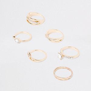 Gold tone rhinestone paved jewel ring pack