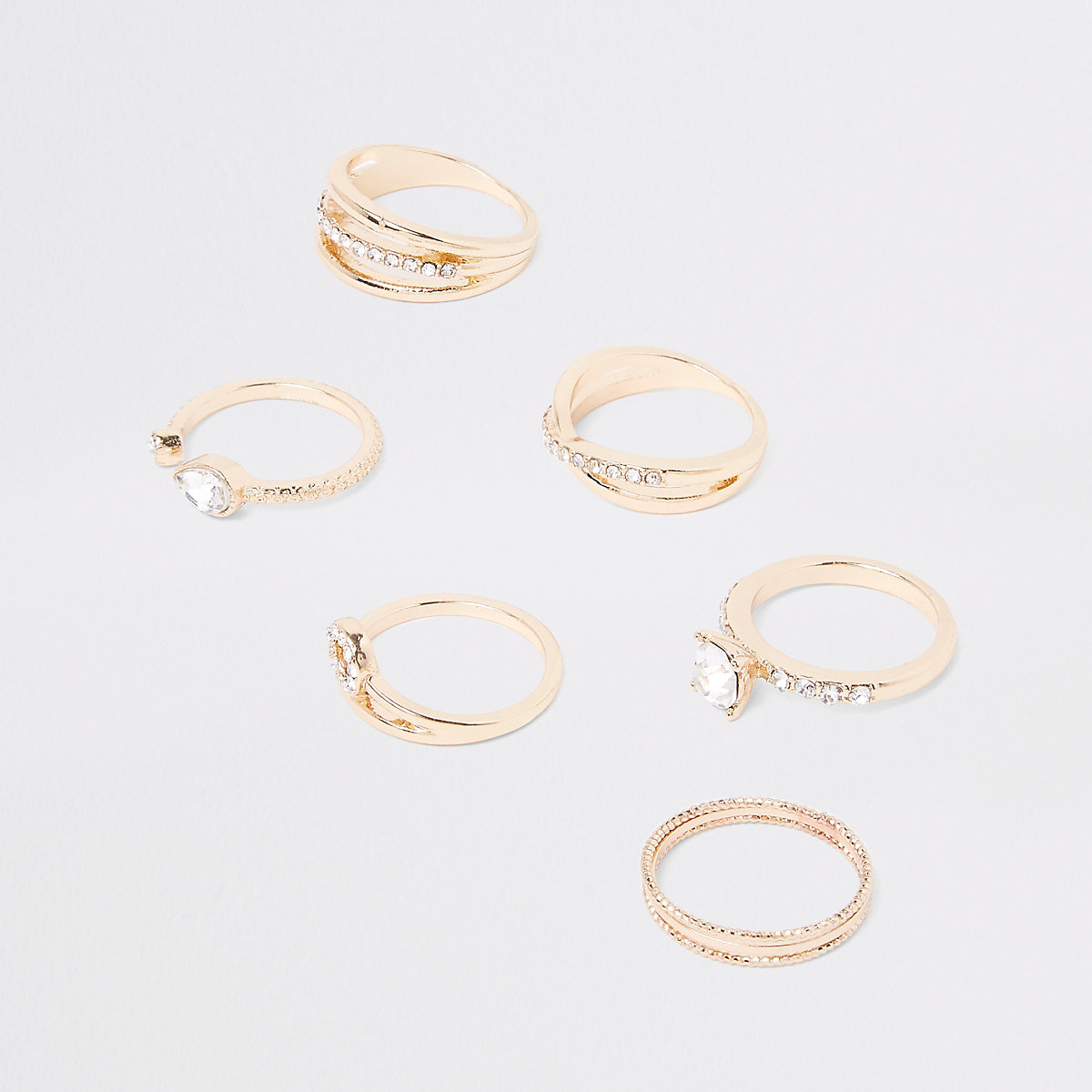Gold tone diamante paved jewel ring pack