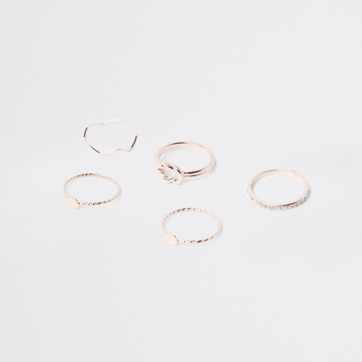 Rose gold tone paved ring multipack