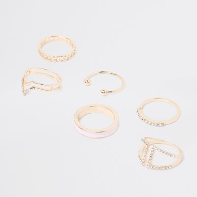 Gold Tone Diamante Paved Ring Pack by River Island