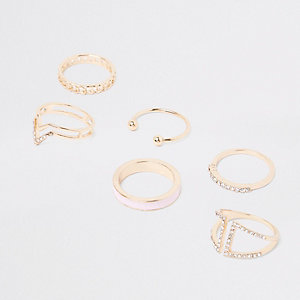 Gold tone diamante paved ring pack