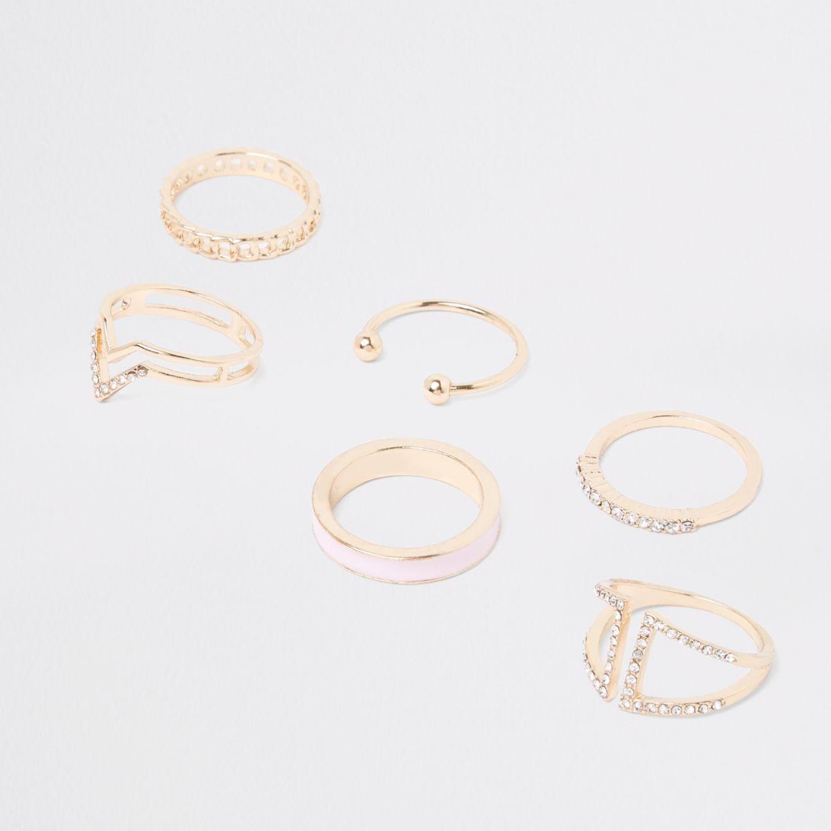 Gold tone rhinestone paved ring pack