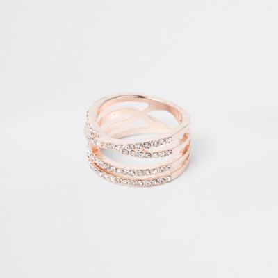 Rose Gold Tone Diamante Double Kiss Ring by River Island